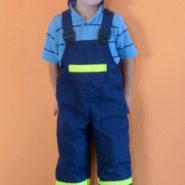 Dětské montérky hasičské modré s reflexními proužky