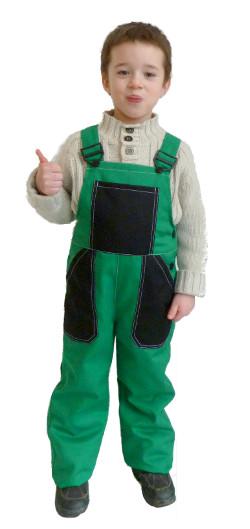 Dětské montérky zeleno-černé