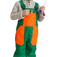 Dětské montérky zeleno-oranžové