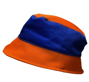 Oranžovo-modrý pracovní klobouk