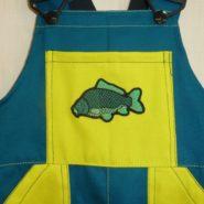 Dětské montérky s laclem zelené -  nášivka Ryby