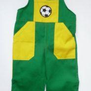 Montérky dětské  s nášivkou míče zeleno-žluté