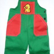Dětské montérky s nášivkou kačenky červeno-zelené