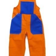 Dětské montérky s laclem - oranžovo-modré
